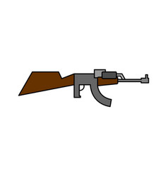 Machine gun child drawing style arms on white vector