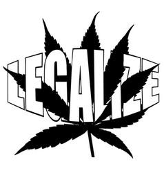 marijuana leaf with word legalize vector image