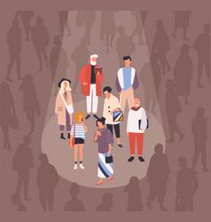 men and women spotlighted or illuminated beam vector image