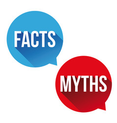 Myths facts sign button vset vector