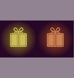 neon icon of yellow and orange gift box vector image