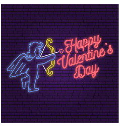 Neon sign banner for valentines day celebrate vector