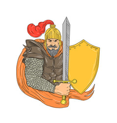 Old knight sword shield drawing vector
