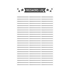 Password log template vector
