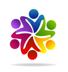 people teamwork flower concept symbol vector image