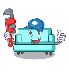 Plumber sofa mascot cartoon style vector