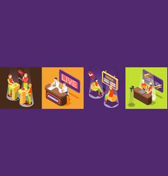 Quiz tv show square icons set vector
