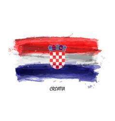realistic watercolor painting flag croatia vector image