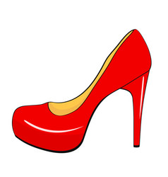 red stylish high heel woman shoe in cartoon style vector image