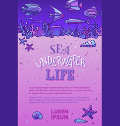 sea underwater life background vector image