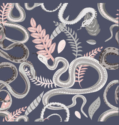Seamless pattern with snakes and plants colorful vector