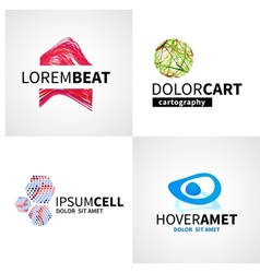 Set modern colorful abstract music cell logo vector