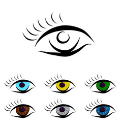 Set od different color eyes vector