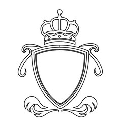 Shield crown decoration royal heraldic ornament vector