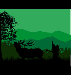silhouette of the deer in mountain vector image