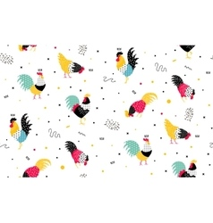 simple pattern with roosters in memphis style vector image