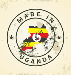 Stamp with map flag of Uganda vector image