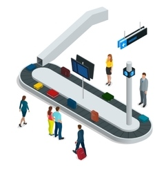 Suitcase on luggage conveyor belt in baggage vector