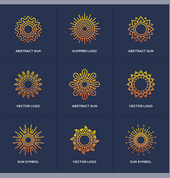 sun logo set isolated on blue background vector image