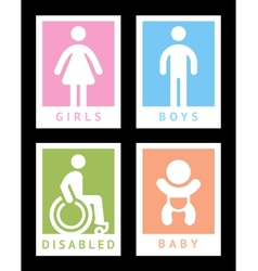 Toilet colored stickers vector
