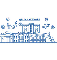 usa new york queens winter city skyline merry vector image