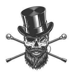Vintage gentleman skull in cylinder hat vector