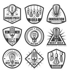 vintage monochrome light bulbs labels set vector image