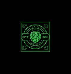 vintage retro hop craft beer brewing brewery label vector image
