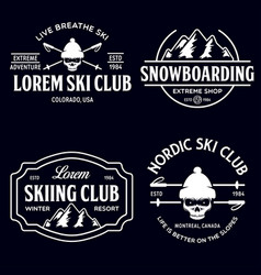 vintage ski or winter sports logos badges vector image