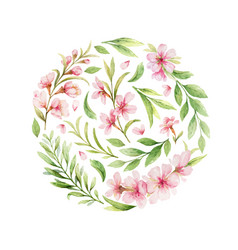 Watercolor arrangement pink flowers and vector