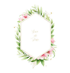 watercolor frame pink flowers and almond vector image