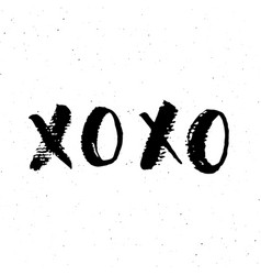 Xoxo brush lettering sign grunge calligraphiv c vector