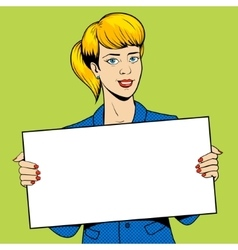 Young woman holding a sign pop art vector image