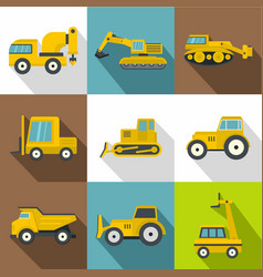 different construction machinery icons set vector image