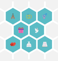 Flat icons love wedding gown present and other vector