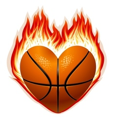 heart shaped basketball on fire vector image vector image