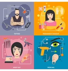 Set with bodyart tattoo piercing process vector image