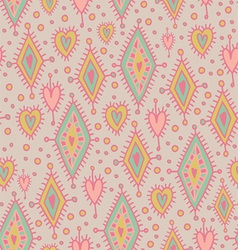 simless pattern with geometric elements and hearts vector image vector image