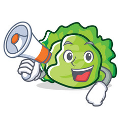with megaphone lettuce character cartoon style vector image