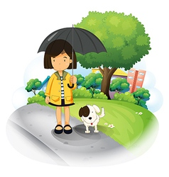 A girl with an umbrella and a puppy at the road vector image vector image