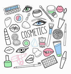 cosmetics make-up hand drawn elements set vector image
