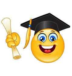 graduation emoticon vector image vector image