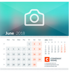 june 2018 calendar for 2018 year week starts on vector image vector image