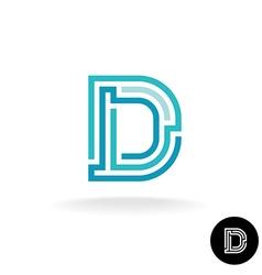 Letter D technical logo Line elements style vector image