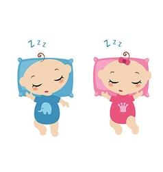Sleeping little childrens vector image