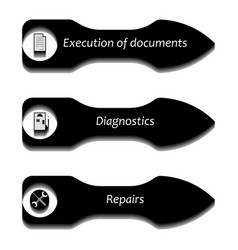 arrows pointers with icons vector image