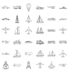Blimp icons set outline style vector