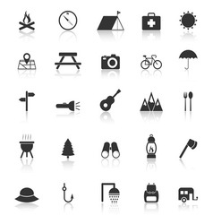Camping icons with reflect on white background vector