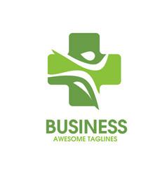 cross health symbol with active figure logo vector image