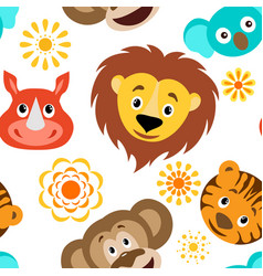 funny cartoon wild animals head seamless pattern vector image vector image